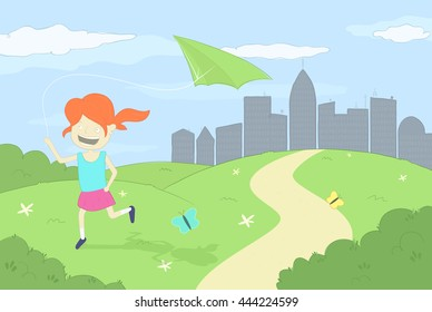 Girl playing with green kite