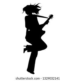 Girl playing guitar. Silhouette on white background. Vector illustration
