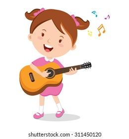 Girl playing guitar. Vector illustration of a cheerful girl playing guitar happily.