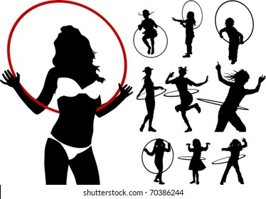 girl playing with a hula hoop on a white background