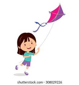 Girl playing kite. Vector illustration of a cheerful girl flying kite.