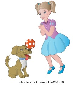girl playing with little dog. Vector illustration.