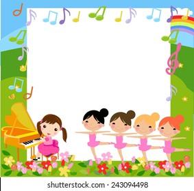A girl playing piano and four girls dancing