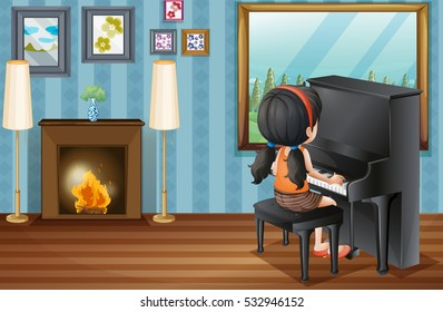 Girl playing piano at home illustration