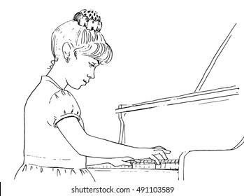 girl playing piano vector