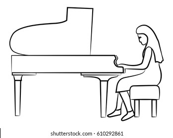 Girl playing the piano. Vector image.