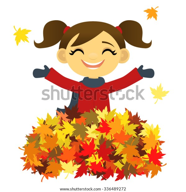 Girl Playing Pile Autumn Leaves Stock Vector Royalty Free 336489272