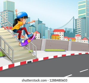 Girl playing skatebaord in urban city illustration