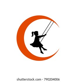 Girl Playing Swing on The Crescent Moon Silhouette Logo, Vector, Template, Clipart