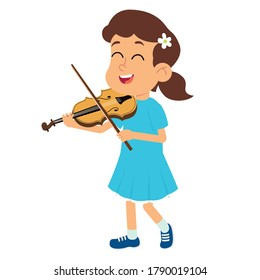 girl playing the violin. the child learns to play a musical instrument. vector illustration