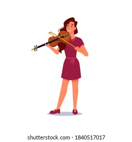 Girl playing violin isolated musician in flat-cartoon. Vector violinist plays on string music instrument, viola with fiddle. Talented smiling caucasian woman practice on stringed tool, violin and bow