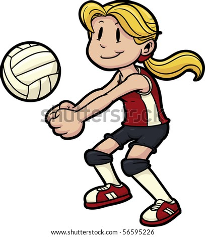 Girl Playing Volleyball Girl Volleyball On Stock Vector Royalty
