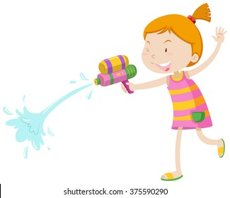 Girl playing with water gun illustration