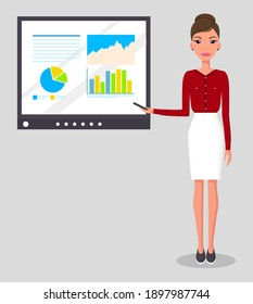 Girl with a pointer in her hand giving a presentation on the screen. Business woman wearing a red blouse presents a report. Pretty young slim woman in business clothes. The teacher leads the lesson