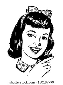 Girl Pointing - Retro Clip Art Illustration