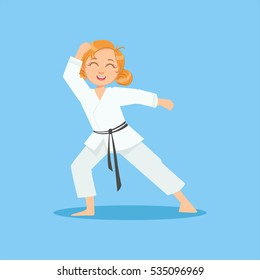 Girl With Ponytails In White Kimono On Karate Martial Art Sports Training Cute Smiling Cartoon Character