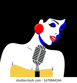 Girl with pop art style sings in blues style. Bright color illustration of a girl
