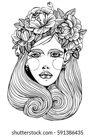 girl portrait with flowers in hair vector graphic