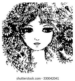 girl portrait vector illustration