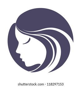 Girl portrait . Vector silhouette icon, monochrome