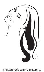 Girl portrait . Vector silhouette icon, shape