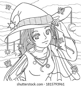Girl portrait in witch hat with jewellery decor. Coloring book page for adult for anti stress. Manga style character. vector outline illustration with doodle and patterns.