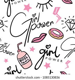 Girl power concept seamless repeating pattern texture / Vector illustration design for fashion fabrics, textile graphics, prints, wallpapers, wrapping papers, cards and other uses.