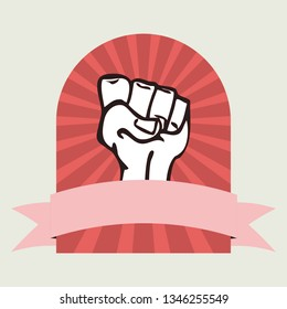 Girl power concept vector of raised fist with a banner