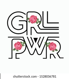 Girl Power, Fashion Slogan Rose with Leaves wings Punk girl gang, Girl Gang patches, badges T-shirt apparels print tee graphic design. Vector sticker, pin, patch vintage rock style.