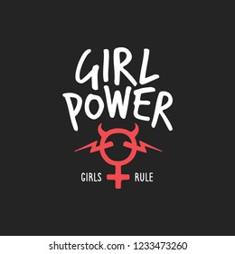 Girl power feminist slogan badge feminine symbol and devil horns. Girls rule quote. Vector vintage illustration.