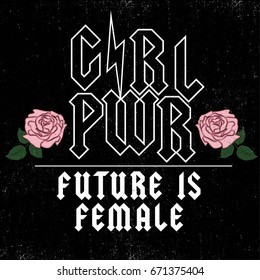 Girl Power, Future is Female Fashion Slogan Rose with Leaves wings Punk girl gang, Girl Gang patches, badges T-shirt apparels print tee graphic design. Vector sticker, pin, patch vintage rock style.