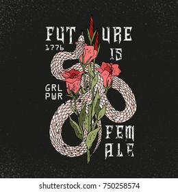 Girl power, Future is female slogan. Snake with rose.Rock and roll girl patch. Typography graphic print, fashion drawing for t-shirts .Vector stickers,print, patches vintage