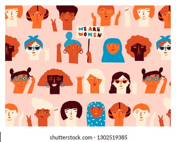 Girl power greeting inspirational card with women faces. Feminism international women day poster.