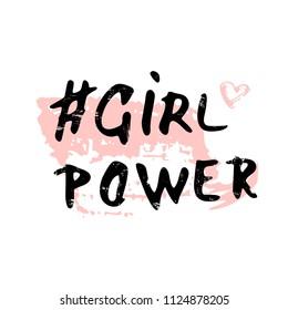 Girl Power grunge composition isolated on white background. Handwritten textured lettering. Vector illustration.