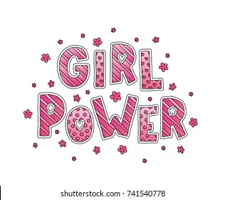 Girl Power. Hand Lettering with flowers. Pink colors. Cute sweet design for print woman shirt, card, sticker, banner, poster. Feminism slogan. Vector illustration on white background