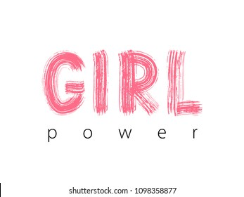 Girl Power. Hand Lettering. Pink colors. Cute sweet design for print woman shirt, card, sticker, banner, poster. Feminism slogan. Vector illustration on white background
