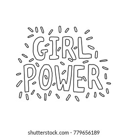 Girl Power Hand Lettering Vector Black Outline on White Background Coloring Page