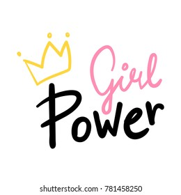 Girl Power Hand Lettering Vector Pink and Black With a Yellow Crown on White Background