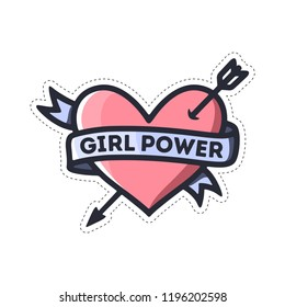 Girl power heart feminism quote. Woman motivational slogan. Feminist saying sticker. Vector vintage illustration.
