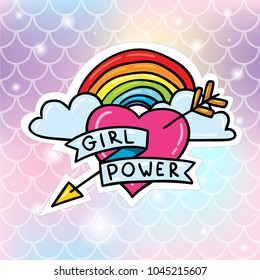 Girl power heart with lgbt rainbow sticker badge pin vector illustration on gradient soft fish scale background. Card or poster design concept