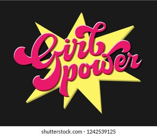 Girl power high contrast print design. Vector typography illustration isolated on black. Lettering quote of feminism slogan. Useable for emblem, t-shirt, wall decoration, cover, poster, cards.