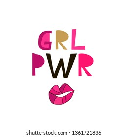Girl power  lettering in cartoon style. Woman motivational slogan. Women empowerment movement pattern. Inscription for t shirts, posters, cards. Vector illustration.