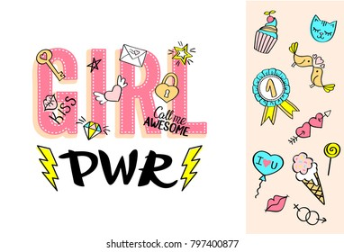 Girl Power lettering with girly doodles and hand drawn phrases for valentines day card design, girl's t-shirt print. Hand drawn fancy comic feminism slogan in cartoon style.