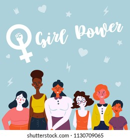 Girl power lettering text and female symbol. Diverse international and interracial group of standing women. For girls power concept, feminine and feminism ideas, woman empower and role card design