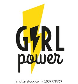 Girl power. Motivational phrase. Feminist quote. Vector illustration