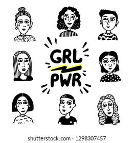 Girl power movement. Doodle style Girl portraits and feminist slogan grl pwr on white background. Feminist movement, protest action, girl power. Vector illustration