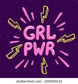 Girl power movement. Feminist slogan grl pwr on violet background. Feminist movement, protest action, girl power. Vector illustration