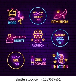 Girl Power Neon Label Set. Vector Illustration of Fashion Promotion.