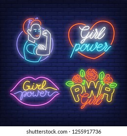 Girl power neon sign set. Woman, heart, lips, flowers on brick wall background. Vector illustration in neon style for topics like emancipation, empowerment, feminism