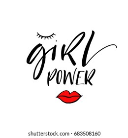 Girl power phrase. Motivational quote. Ink illustration. Modern brush calligraphy. Isolated on white background.